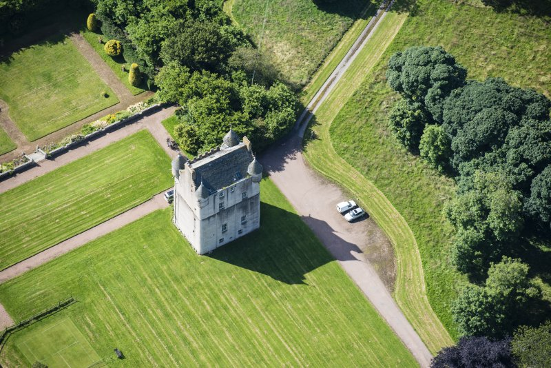 Oblique aerial view of Udny Castle, looking S.