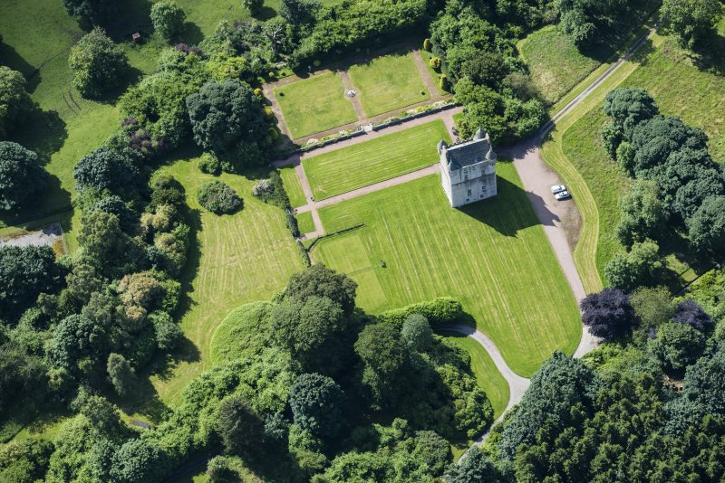 Oblique aerial view of Udny Castle and garden, looking SSE.