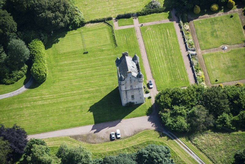 Oblique aerial view of Udny Castle and garden, looking E.