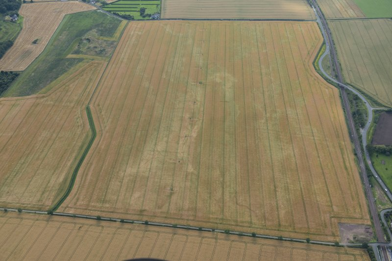 Oblique aerial view of the cropmarks of the pit defined boundaries, looking WSW.