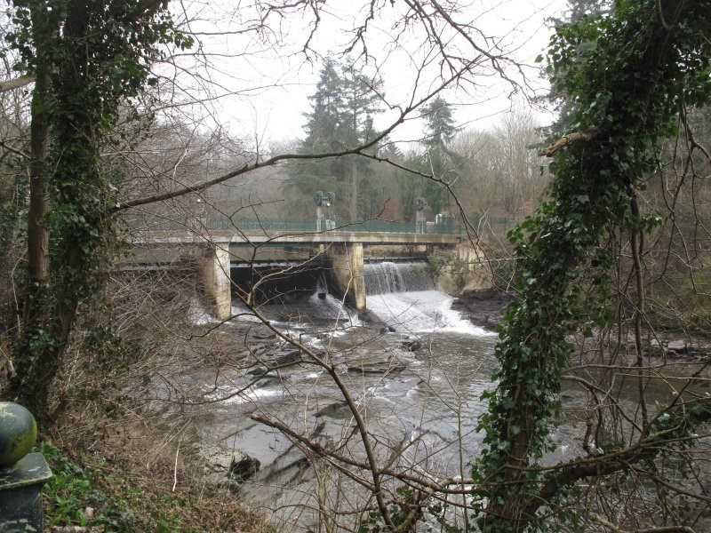 General view of Stonebyres weir and footbridge, taken from north west