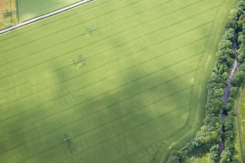 Oblique aerial view of the cropmarks of the entrance on the NW side of the Roman Temporary Camp, looking WSW.