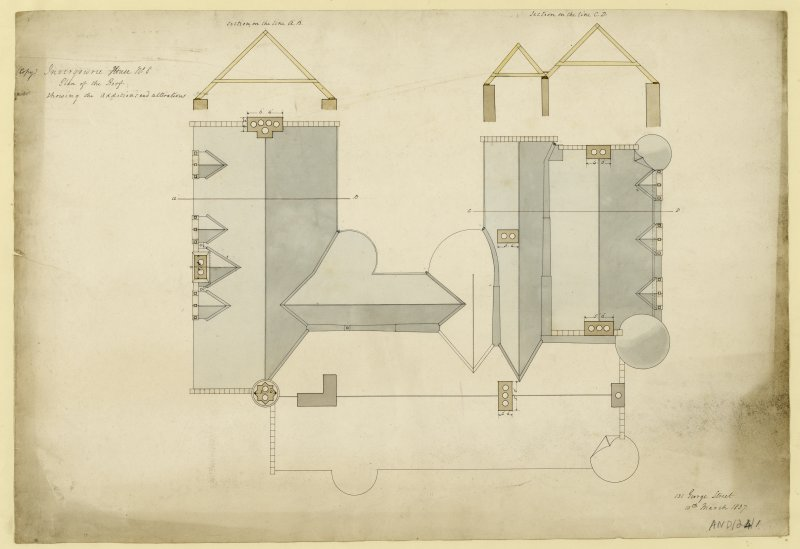 Drawing of plan of the roof and sections, Invergowrie House, Dundee