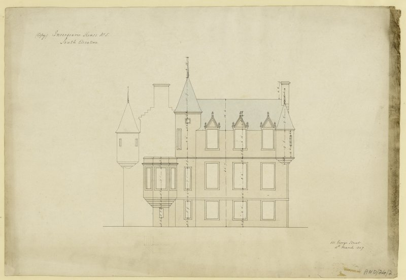 Drawing of south elevation of Invergowrie House, Dundee