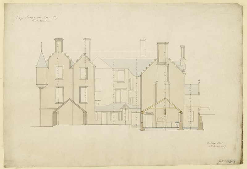 Drawing of east elevation of Invergowrie House, Dundee