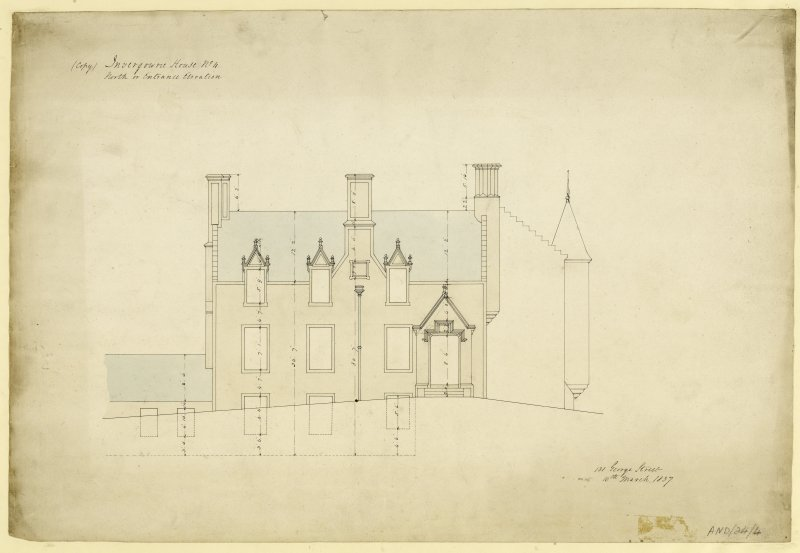Drawing of north or entrance elevation of Invergowrie House, Dundee