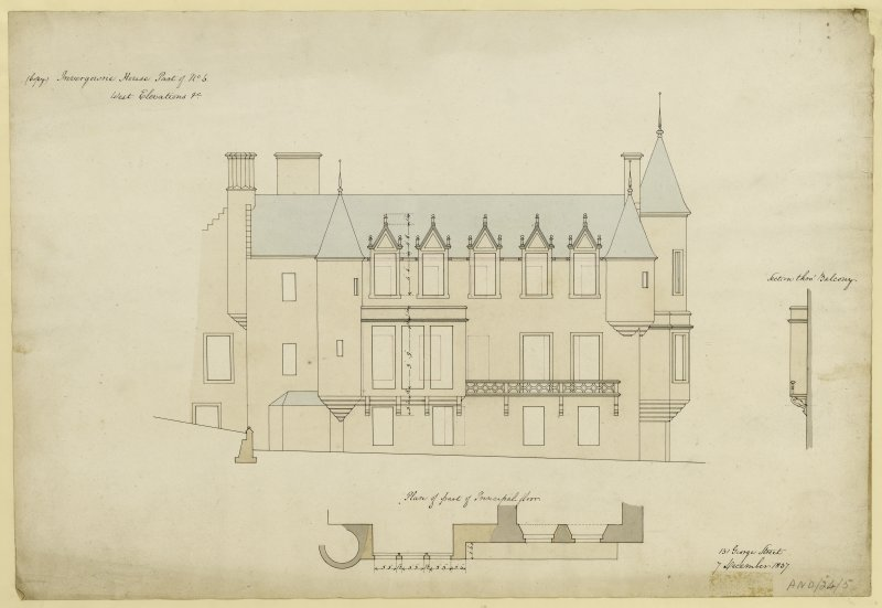 Drawing of west elevation of Invergowrie House, Dundee