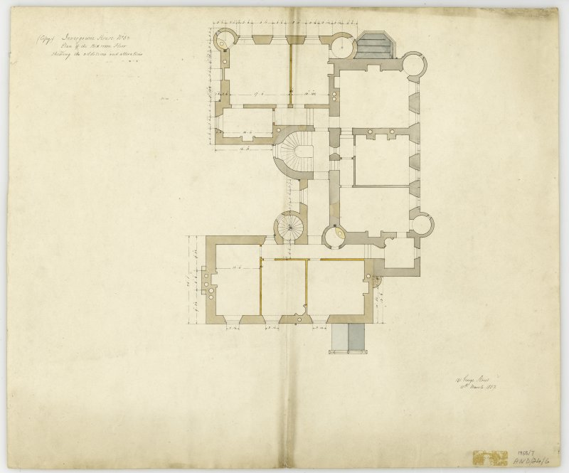 Drawing of plan of bedroom floor showing additions and alterations, Invergowrie House, Dundee