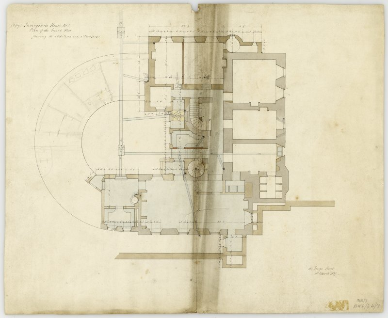 Drawing of plan of ground floor showing additions and alterations, Invergowrie House, Dundee
