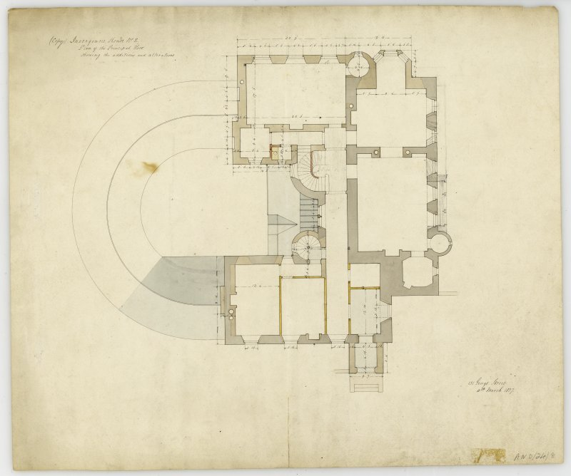 Drawing of plan of principal floor showing additions and alterations, Invergowrie House, Dundee