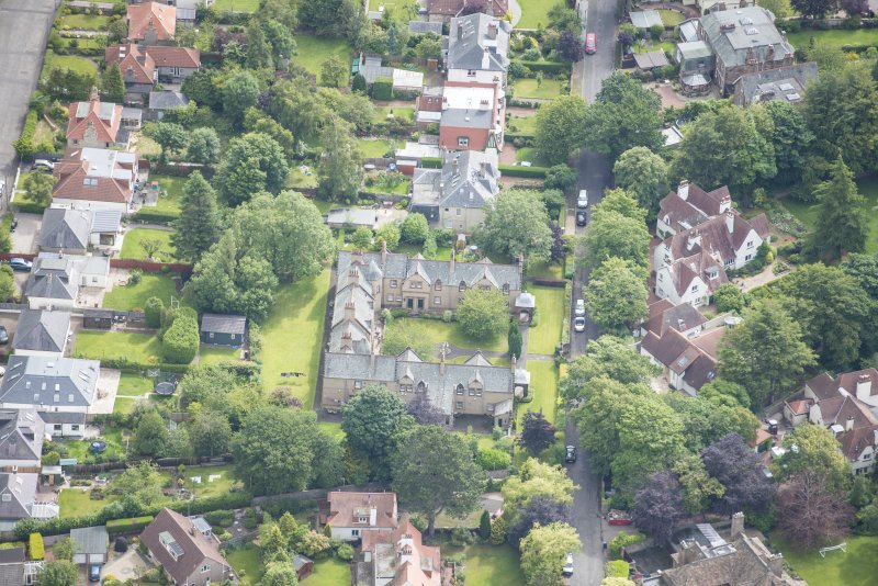 Oblique aerial view of 52 Spylaw Bank Road, looking E.