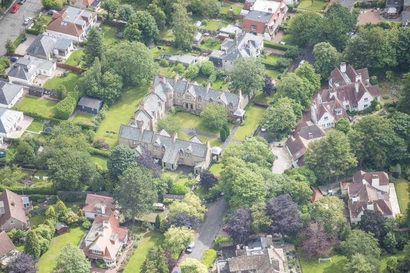 Oblique aerial view of 52 Spylaw Bank Road, looking ENE.