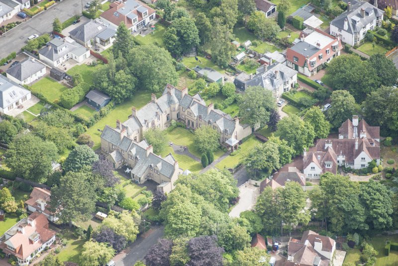 Oblique aerial view of 52 Spylaw Bank Road, looking NE.