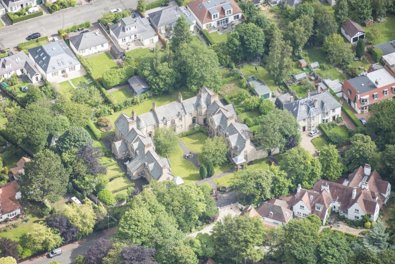 Oblique aerial view of 52 Spylaw Bank Road, looking NNE.