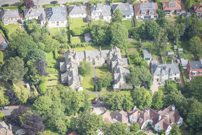 Oblique aerial view of 52 Spylaw Bank Road, looking N.
