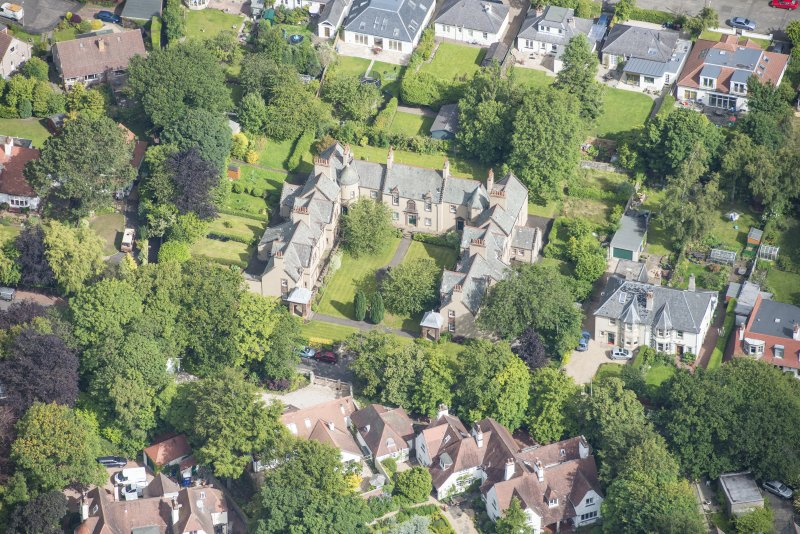 Oblique aerial view of 52 Spylaw Bank Road, looking NNW.