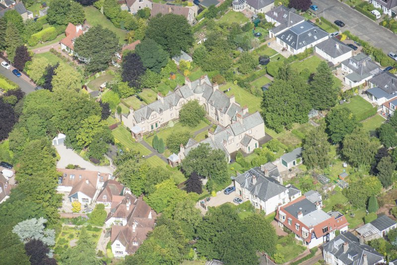 Oblique aerial view of 52 Spylaw Bank Road, looking WNW.