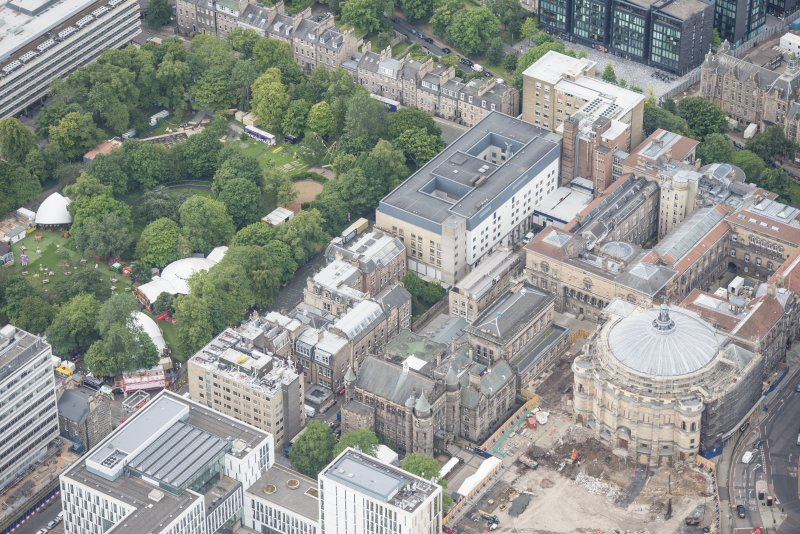 Oblique aerial view of the McEwan Hall, George Square and Teviot Place, looking SSW.