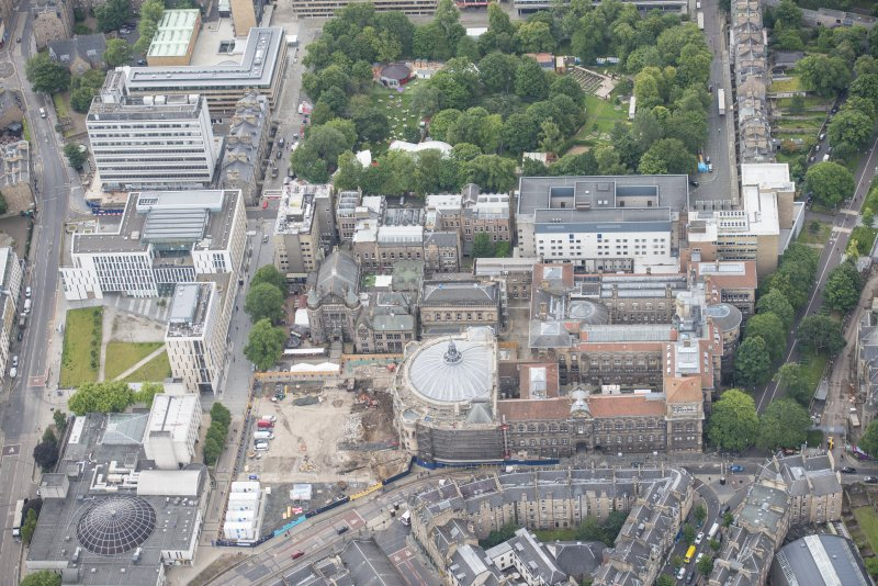 Oblique aerial view of the McEwan Hall and Medical School, looking SSE.