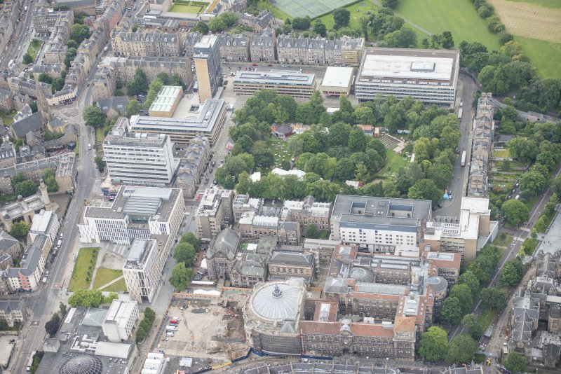 Oblique aerial view of the McEwan Hall, George Square and Medical School, looking SSE.