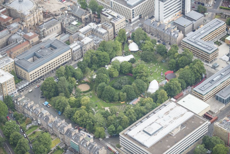 Oblique aerial view of George Square, looking NNE.