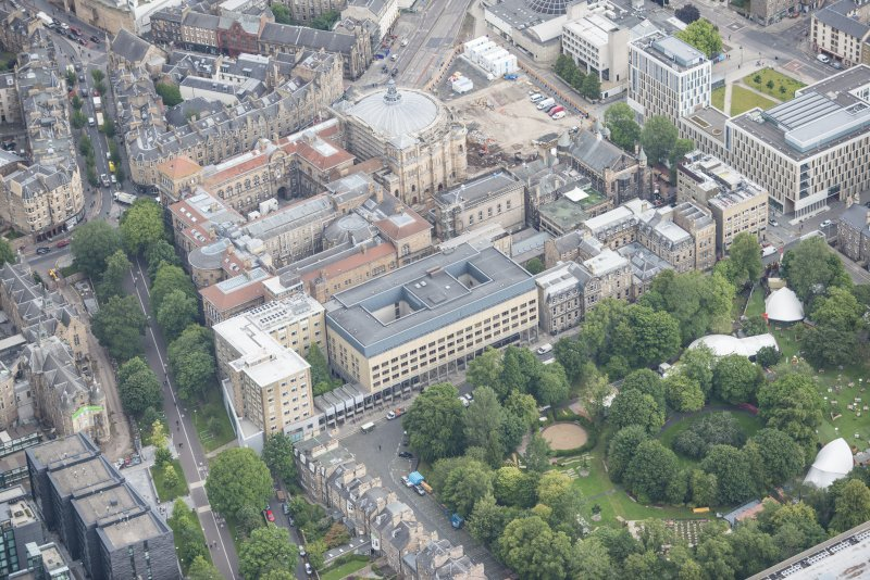 Oblique aerial view of George Square, McEwan Hall and Medical School, looking NNE.