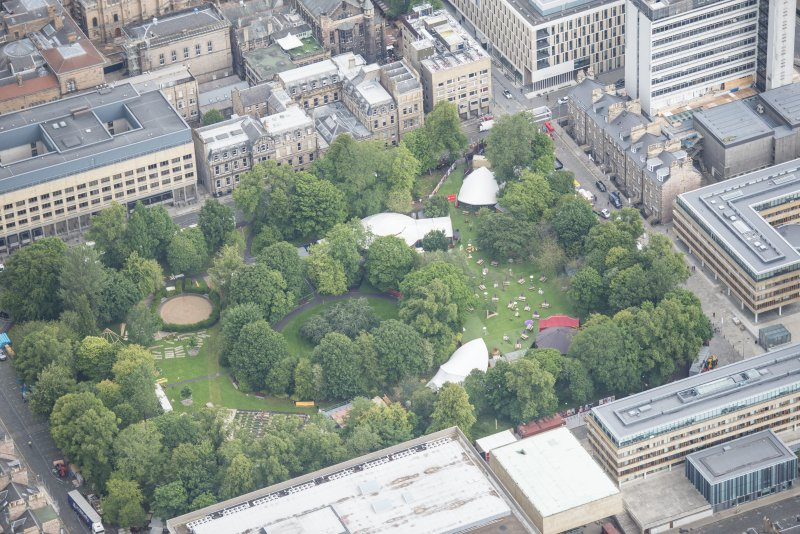 Oblique aerial view of George Square, looking N.