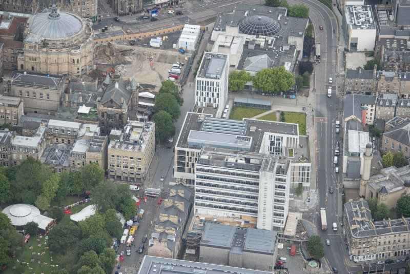 Oblique aerial view of George Square and Informatics Forum Building, looking NE.