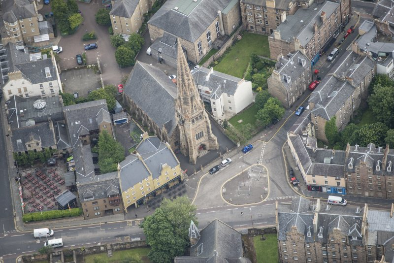 Oblique aerial view of Buccleuch and Greyfriars Free Church, looking ENE.