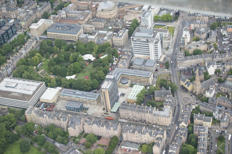 Oblique aerial view of George Square, looking S.