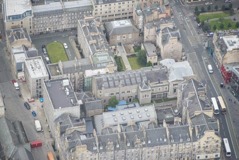 Oblique aerial view of Old College, looking S.