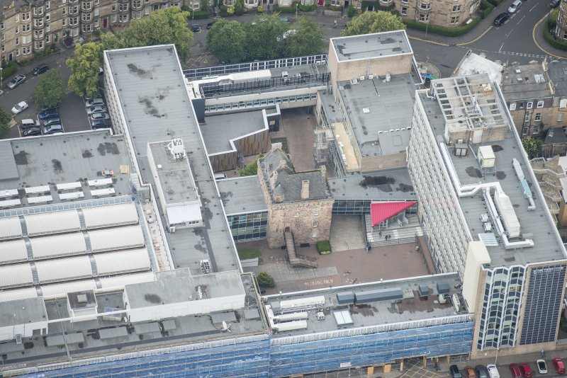 Oblique aerial view of Merchiston Castle, looking N.