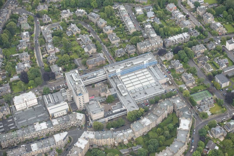 Oblique aerial view of Merchiston Castle and Napier University, looking S.