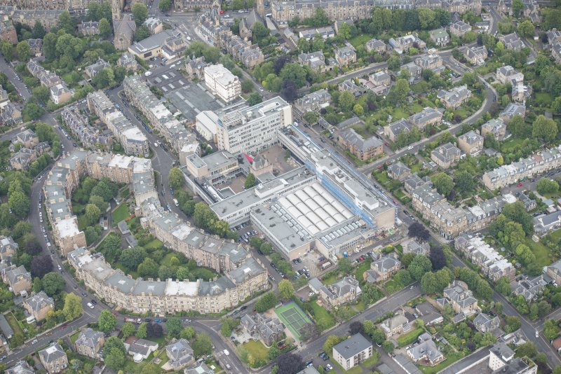 Oblique aerial view of Merchiston Castle, Napier University and Mardale Crescent, looking ESE.