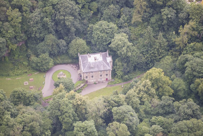 Oblique aerial view of the Hermitage of Braid, looking NW.