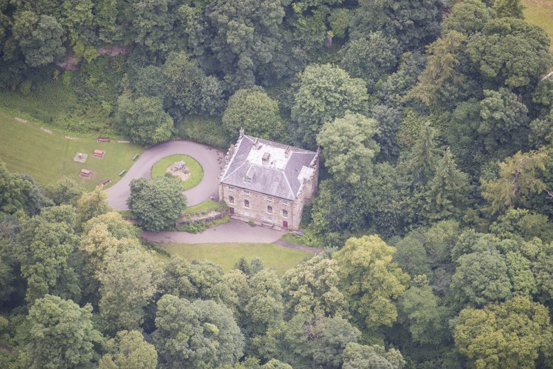Oblique aerial view of the Hermitage of Braid, looking WNW.