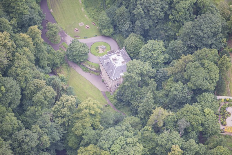 Oblique aerial view of the Hermitage of Braid, looking W.