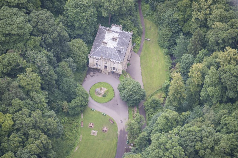 Oblique aerial view of the Hermitage of Braid, looking ENE.