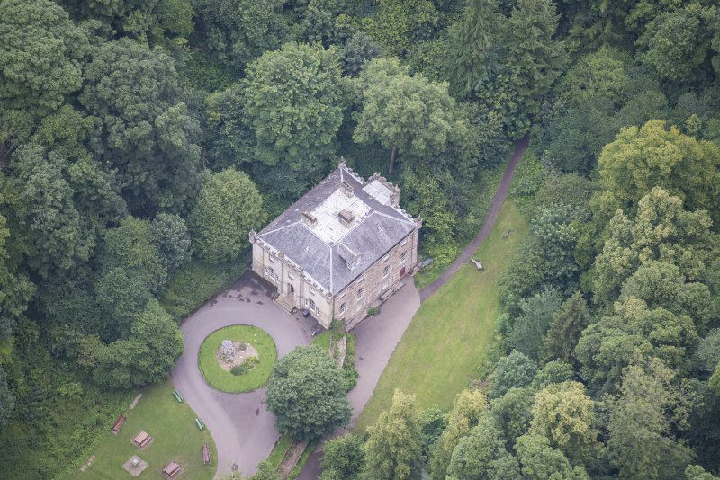 Oblique aerial view of the Hermitage of Braid, looking NE.