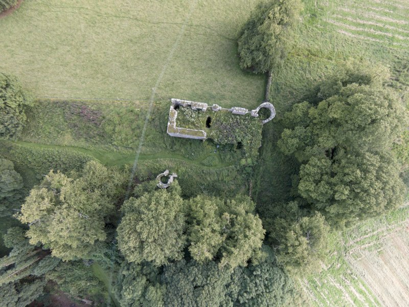 Oblique aerial view of Dowhill Castle looking south.