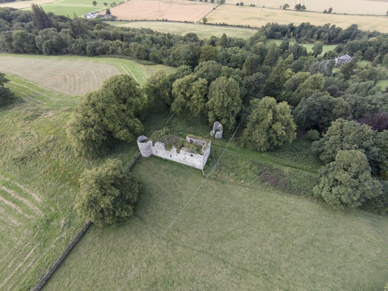 Oblique aerial view of Dowhill Castle looking NNW.