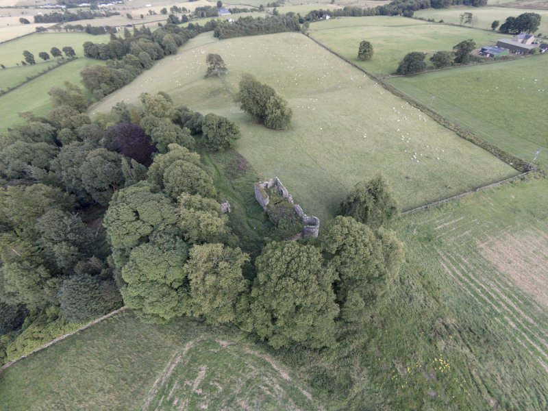 Oblique aerial view of Dowhill Castle looking ESE.