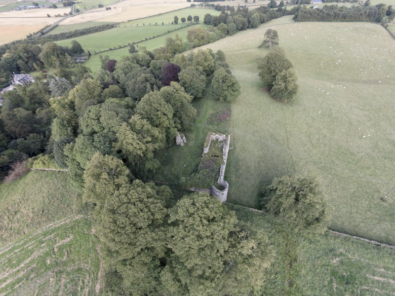 Oblique aerial view of Dowhill Castle looking east.