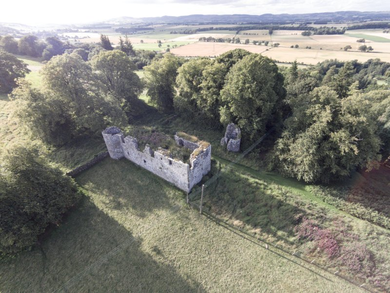Oblique aerial view of Dowhill Castle looking north west.