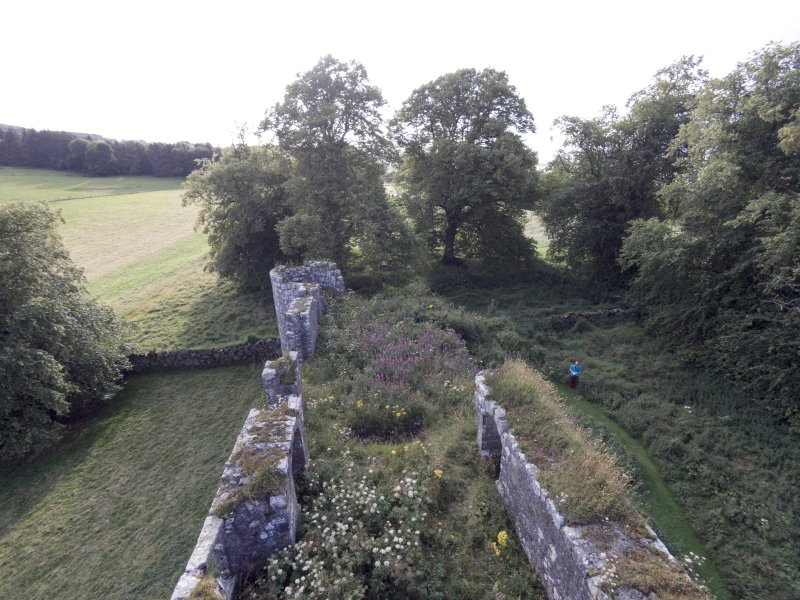 Oblique aerial view of Dowhill Castle looking west.