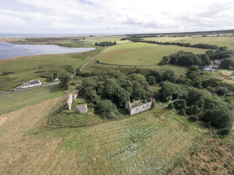 Oblique aerial view of Skelbo Castle looking ESE.