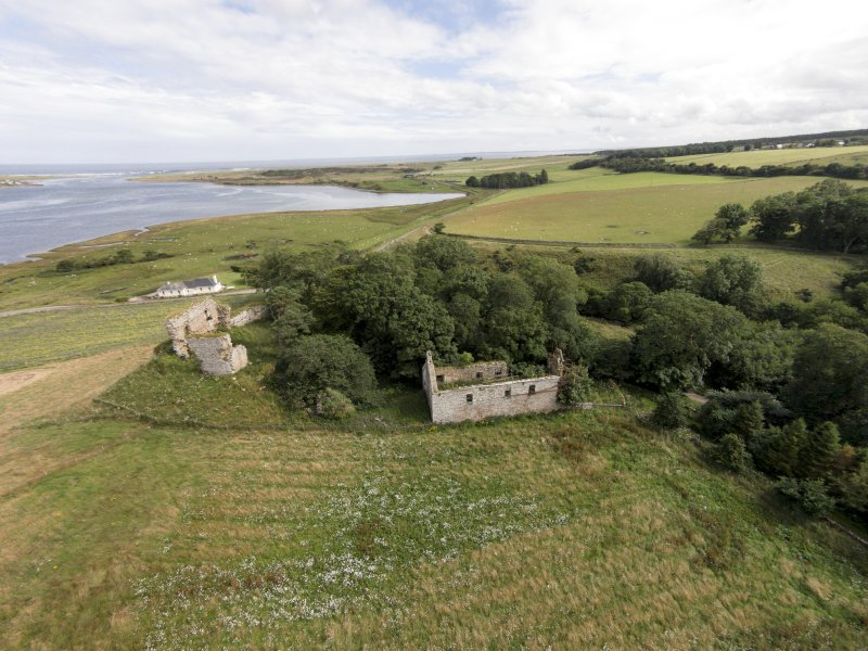Oblique aerial view of Skelbo Castle looking east.