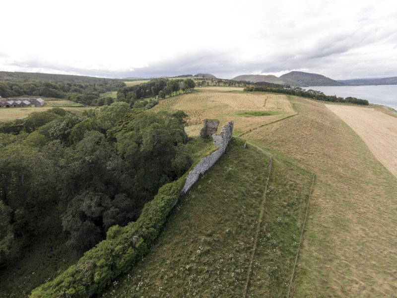 Oblique aerial view of Skelbo Castle looking west.