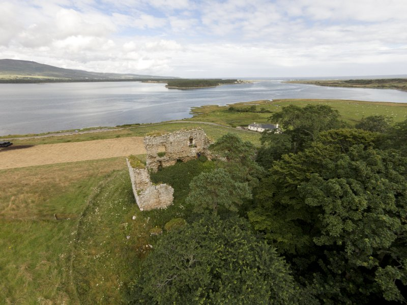 Oblique aerial view of Skelbo Castle looking ENE.