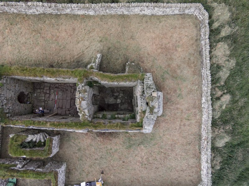 Near vertical aerial view of Eynhallow church (chancel) looking NNE.